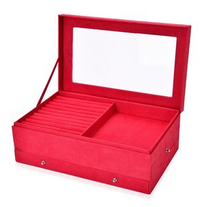 3 Tier Red Velvet and Acrylic Jewelry Box (14x5x8.5 in)
