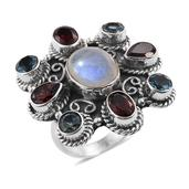 Artisan Crafted Sri Lankan Rainbow Moonstone, Mozambique Garnet, Sky Blue Topaz Sterling Silver Ring (Size 7.0) TGW 10.65 cts.