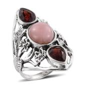 Artisan Crafted Peruvian Pink Opal, Mozambique Garnet Sterling Silver Ring (Size 9.0) TGW 6.860 cts.