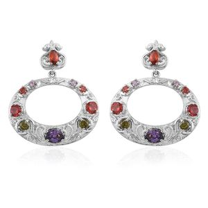 Simulated Multi Color Gems Stainless Steel Earrings TGW 5.61 cts.