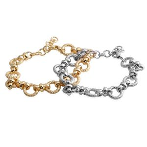 Set of 2 Silvertone and Goldtone Link Bracelets (7.00 In)