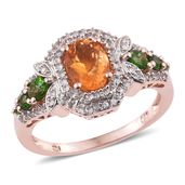 Salamanca Fire Opal, Russian Diopside, White Zircon 14K RG Over Sterling Silver Ring (Size 9.0) TGW 2.02 cts.