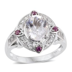 XIA Kunzite, White Topaz, Purple Garnet Platinum Over Sterling Silver Ring (Size 8.0) TGW 4.155 cts.