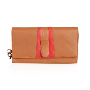 Tan and Red Genuine Leather RFID Wallet