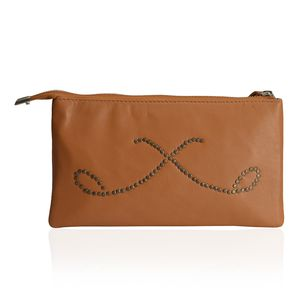 Tan 100% Genuine Laether RFID Wrislet Clutch