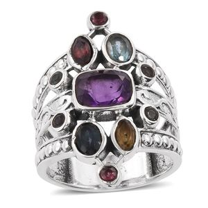 Amethyst, Multi Gemstone Sterling Silver Ring (Size 8.0) TGW 6.430 cts.