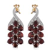 Mozambique Garnet, Cambodian Zircon 14K YG and Platinum Over Sterling Silver Earrings TGW 7.90 cts.