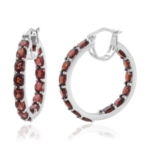 Mozambique Garnet Platinum Over Sterling Silver Inside Out Hoop Earrings TGW 13.44 cts.