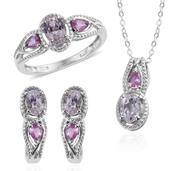 XIA Kunzite, Madagascar Pink Sapphire Platinum Over Sterling Silver J-Hoop Earrings, Ring (Size 5) and Pendant With Chain (20 in) TGW 4.75 cts.