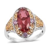Salmon Quartz, Madagascar Pink Sapphire 14K YG and Platinum Over Sterling Silver Ring (Size 10.0) TGW 4.90 cts.