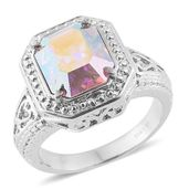 Stainless Steel Ring (Size 7.0) Made with SWAROVSKI Aurora Borealis Crystal TGW 5.50 cts.