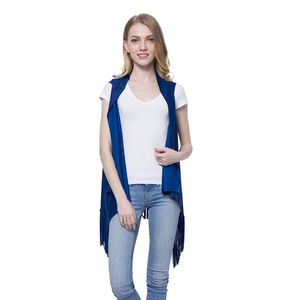 Royal Blue Microfiber Suede Vest with Laser Cut and Fringe (Free Size)