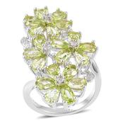 Hebei Peridot, White Topaz Sterling Silver Floral Elongated Ring (Size 9.0) TGW 4.45 cts.