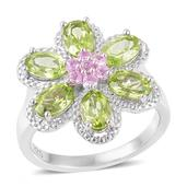 Hebei Peridot, Madagascar Pink Sapphire Sterling Silver Flower Ring (Size 5.0) TGW 3.50 cts.