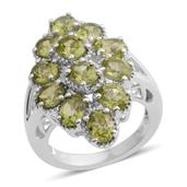Hebei Peridot Platinum Over Sterling Silver Split Ring (Size 5.0) TGW 4.80 cts.