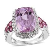 Tony's Collector Show 14K WG Kunzite, Madagascar Pink Sapphire, Diamond Split Ring (Size 7.0) TDiaWt 0.52 cts, TGW 9.970 cts.