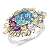 Easter Special Peacock Quartz, Multi Gemstone 14K YG and Platinum Over Sterling Silver Ring (Size 7.0) TGW 4.480 cts.