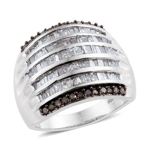Champagne Diamond Platinum Over Sterling Silver Ring (Size 8.0) TDiaWt 1.97 cts, TGW 1.97 cts.