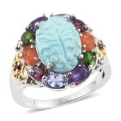 Arizona Sleeping Beauty Turquoise Carved, Multi Gemstone 14K YG and Platinum Over Sterling Silver Ring (Size 9.0) TGW 7.98 cts.