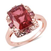 Salmon Quartz, Pink Tourmaline 14K RG Over Sterling Silver Ring (Size 11.0) TGW 7.56 cts.