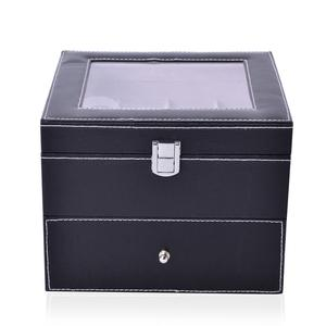 2-Tier Black Faux Leather Watch Box with Drawer-Hold 16 (8x8x8 in)