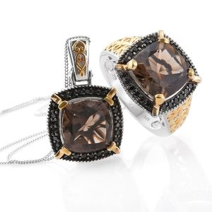 Delma Brazilian Smoky Quartz, Thai Black Spinel 14K YG and Platinum Over Sterling Silver Ring (Size 7) and Pendant With Chain (20 in) TGW 14.16 cts.