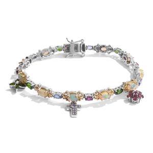 Ethiopian Welo Opal, Multi Gemstone 14K YG and Platinum Over Sterling Silver Bracelet (7.50 In) TGW 8.100 cts.