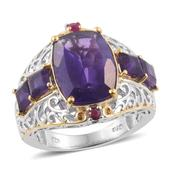 Lusaka Amethyst, Ruby 14K YG and Platinum Over Sterling Silver Ring (Size 7.0) TGW 6.270 cts.