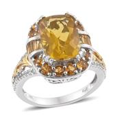 Canary Fluorite, Brazilian Citrine, Cambodian Zircon 14K YG and Platinum Over Sterling Silver Ring (Size 6.0) TGW 10.32 cts.