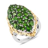 Russian Diopside 14K YG and Platinum Over Sterling Silver Elongated Ring (Size 6.0) TGW 8.31 cts.