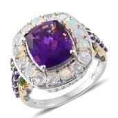 Lusaka Amethyst, Ethiopian Welo Opal, Russian Diopside 14K YG and Platinum Over Sterling Silver Ring (Size 7.0) TGW 7.06 cts.