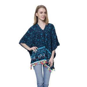 Blue Elephant Pattern 100% Viscose V-Neck Poncho with Tassles (Free Size)