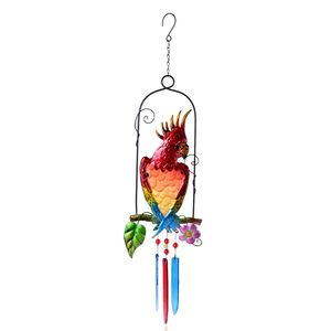 Murano Millefiori Glass, Resin Multi Color Parrot and Flower Pattern Iron Wind Chime TGW 50.00 cts.