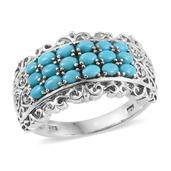 Arizona Sleeping Beauty Turquoise, Cambodian Zircon Platinum Over Sterling Silver Openwork Ring (Size 5.0) TGW 1.25 cts.
