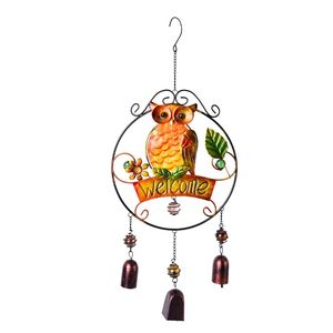 Murano Millefiori Glass, Multi Color Chroma Owl and Flower Iron Wind Chime