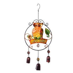 Murano Millefiori Glass, Multi Color Owl and Flower Iron Wind Chime (10.1x1.5x23.5 in)