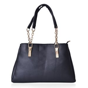Black Faux Leather Trapezoid Shoulder Bag