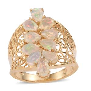 Ethiopian Welo Opal 14K YG Over Sterling Silver Openwork Elongated Ring (Size 5.0) TGW 2.70 cts.