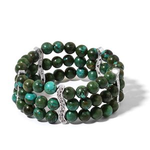 Green Howlite, White Austrian Crystal Beads Silvertone Bracelet (Stretchable) TGW 250.30 cts.