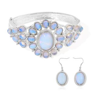 One Day TLV Opalite Silvertone & Stainless Steel Bangle (7 in) and Earrings TGW 65.00 cts.
