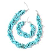 Blue Howlite Chips Silvertone Triple Strand Bracelet (7.50-9.00in) and Triple Strand Twisted Necklace (18.00 In) TGW 595.50 cts.