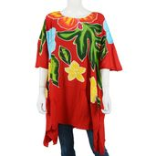 Red, Multi Color Hand Painted Floral Motif Rayon Poncho (Free Size)