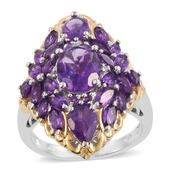 Lusaka Amethyst, Cambodian Zircon 14K YG and Platinum Over Sterling Silver Elongated Ring (Size 7.0) TGW 6.95 cts.