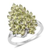 Hebei Peridot Platinum Over Sterling Silver Cluster Ring (Size 5.0) TGW 3.50 cts.