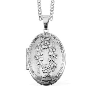 Silvertone Locket Pendant With Necklace (28 in)