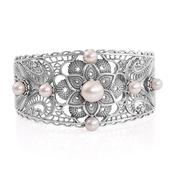 Freshwater Pearl Sterling Silver Openwork Cuff (7.50 in)