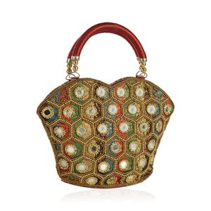 Rainbow and Red 100% Polyester Jaquard Beaded Bucket Bag (9x7 in)