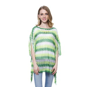Green and White Fancy Zigzag Pattern 100% Polyester Poncho (43.3x21.26 in)