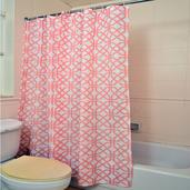 Peach 100% Polyester Waterproof Geometric Print Shower Curtain Set (72x72 In)