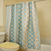 Home Textiles Blue Printed 100% Polyester Waterproof Shower Curtain (70.8x70.8 in)